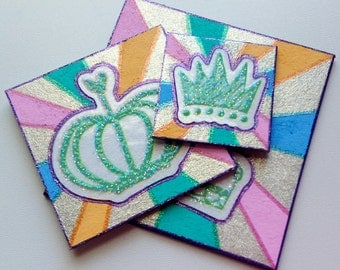 Inchie Twinchie Squares - Royal Crown - Colorful Pastel Glitter Design - Stickers Small Art