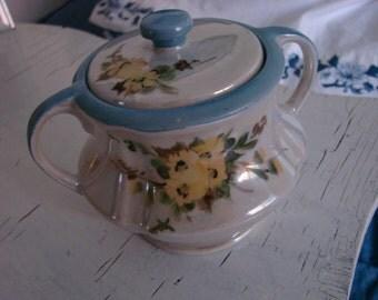 Fraunfelter Sugar Bowl RARE Iridescent Blue Trim Yellow Flowers Signed