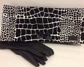 Black and White Print Faux Leather Clutch Purse Bag