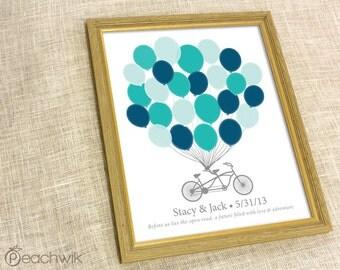 Guest Book Alternative - The Signature Bikewik - A Peachwik Personalized Art Print - 25 guest sign in - Balloons & Bike Guestbook