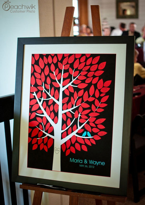Wedding Guest Book Alternative - The Wishwik Tree - A Peachwik Interactive Art Print - 125 guest  - Wedding Tree Guest Book Alternative