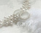 Madame Pompadour - white faux pearl with feather and glass cab fantasy style crocheted wire wrapped wedding statement necklace