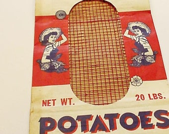 Vintage Potato Sack, Shabby Primitive Prize Pak Potatoes Bag, Rustic Country Farmhouse Paper Ephemera, Vintage Ad Home Decor itsyourcountry