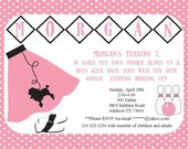 Bowling 50's Sock Hop Poodle Skirt Birthday Party Invitation Printable