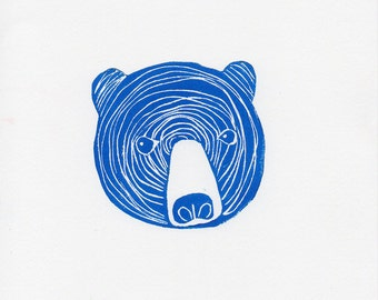 Cobalt Blue Linocut Bear Face Woodblock Printmaking Art Print 8 x 10 print