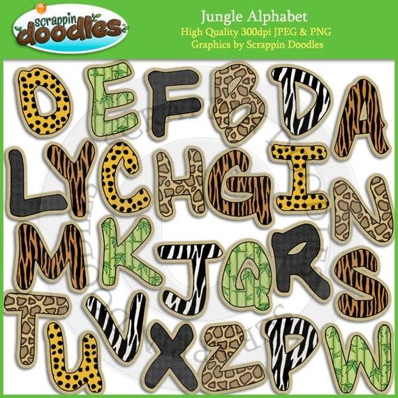 Jungle Alphabet Clip Art
