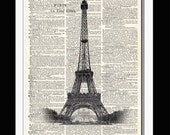 BLACK Ink PARIS Eiffel Tower illustration upcycled dictionary page book art print - 013
