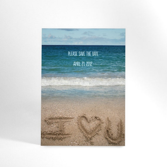 "Beach Save the Date Postcard has Ocean Shore and ""I (Love) U"" Written in Sand and Your Message on Reverse, Destination Wedding"