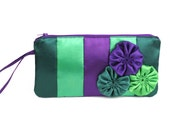 Clutch or shoulder bag, made from satin fabric, with gorgeous flower applique, shades of green and purple, handbag, purse