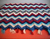 Vintage Chevron Afghan - Blue, Burgundy, Gray & Cream - Heavy Geometric Patterned Blanket