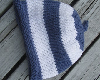 Hand Knit Baby Hat, Blue and White Stripes Knit Baby Hat