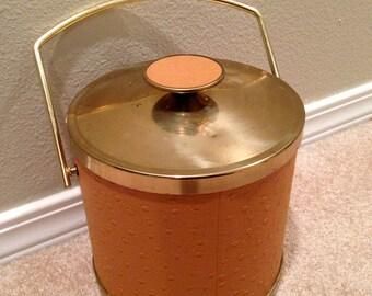 Gold tone and orange Mid century modern atomic age ice bucket