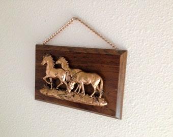 Vintage Bronze colored horse plaque unique kitschy design