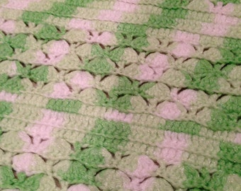 Summer green Handcrafted Crocheted vintage baby blanket  afghan warm and cuddly vintage
