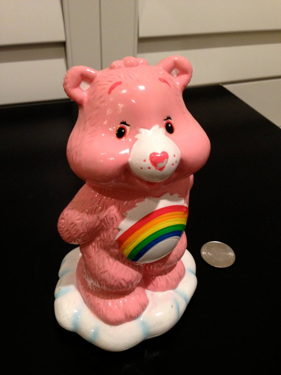 Pink Care Bear Bank Pink With Rainbow Tummy By