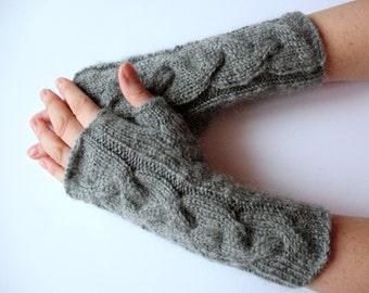 "Gray Fingerless Gloves Arm Warmers Dark Gray Dove 8"" Mittens Knit, Soft Acrylic Mohair"