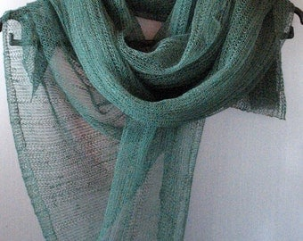 Green Linen Scarf Shawl Wrap Stole Light, Transparent SALE