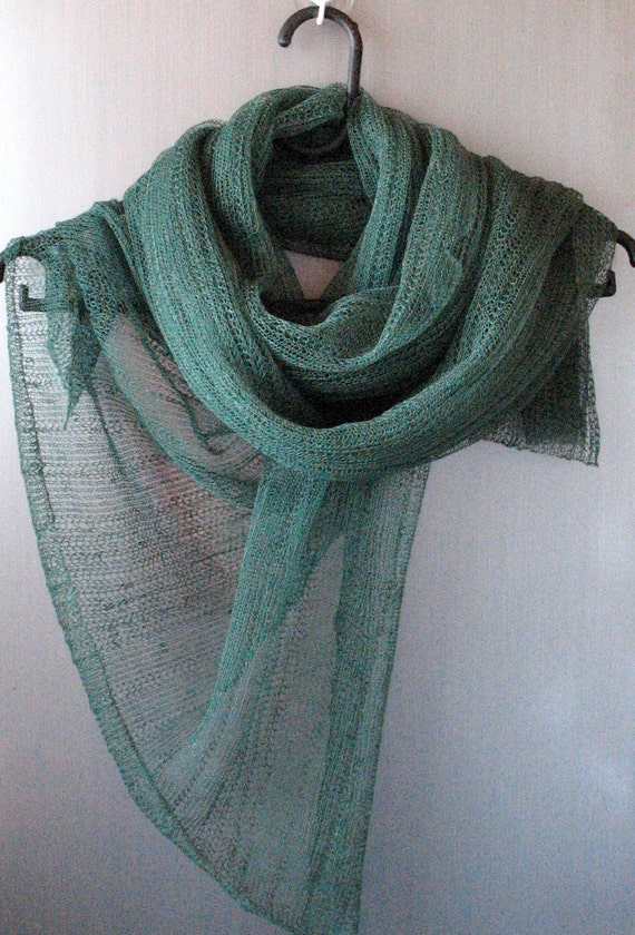 Green Linen Scarf Shawl Wrap Stole Light, Transparent