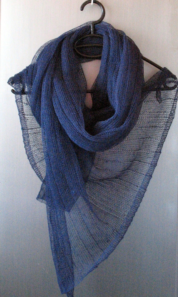 Blue Linen Scarf Shawl Wrap Stole Dark Blue Black Light, Transparent