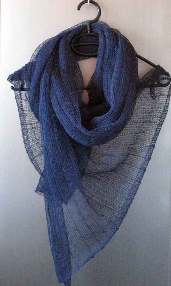Blue Linen Scarf Shawl Wrap Stole Dark Blue Black Light, Transparent
