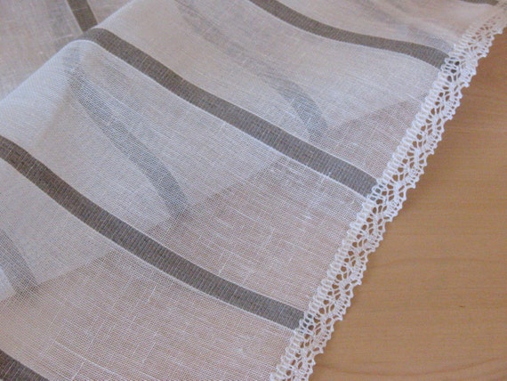 "Linen Table Runner Tablecloth Natural White Gray Striped Linen Lace 61"" x 16.5"""