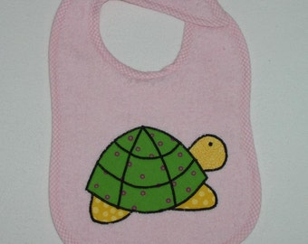 Turtle Toddler Bib - Turtle Applique Pink Terrycloth Toddler Bib