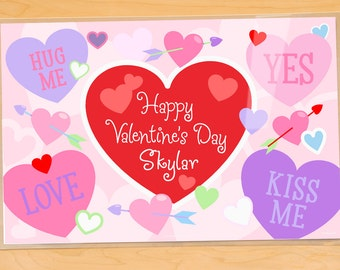 Kids Personalized Valentines Day Placemat, Kids Personalized Sweetheart Placemat, Kids Laminated Mealtime Placemat, Kids Holiday Placemat