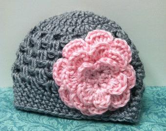 Newborn gray baby hat with pink flower