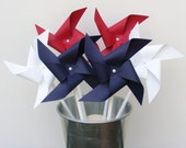 Bouquet of 6 Solid Red White & Blue Pinwheels Patriotic 4th Of July - BakerStPaperGoods