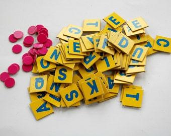 Vintage Junior Scrabble Paper Game Tiles Selvaged