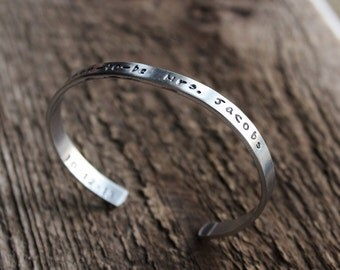 Personalized  Hand Stamped Cuff - Bride to Be And Wedding Date Or For Bridesmaids