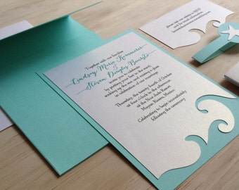 Handmade Beach Wedding Invitations Etsy