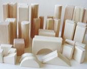 Wooden  Toys - Natural Wood - 40-  Building Blocks - Waldorf - Educational - Skills - Creative Play- Handmade - Woodworking