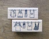 Clothesline Rubber Stamp