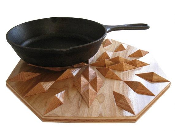 Oak Wood Hot Pad. Geometric decor, wooden hot pad or centerpiece.