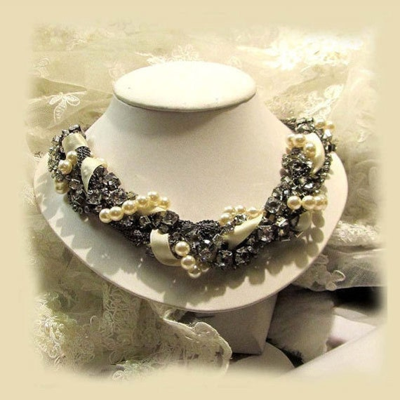 OOAK twisted , braided Crystal, Pearl, Ribbon, bridal necklace, bridal jewelry , bridesmaid necklace