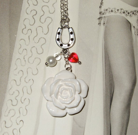 Horseshoe Necklace, Unusual Bridal Necklace, White Rose Charm, Red Heart Necklace, Rockabilly Jewelry, Lucky Horseshoe, Rockabilly Rose