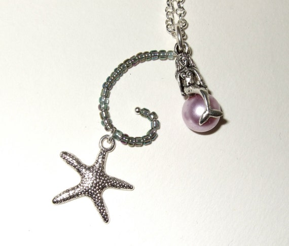 Mermaid Necklace, Starfish Pendant, Lilac Glass Pearl, Nautical Charm, Rockabilly Necklace, Mermaid Pendant, Whimsical Jewelry, Bead Spiral