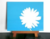 Blue Flower Art - Blue Wall Art, Aqua Flower Art, Bright Blue Home Decor, Bright Kids Room Art, White Flower Art, Daisy Art,