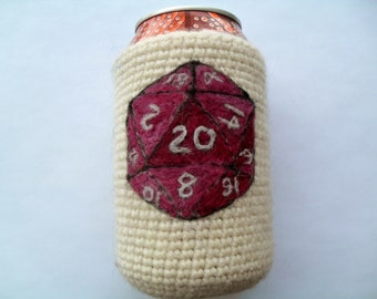Purple D20 dice can cozy Needle felted