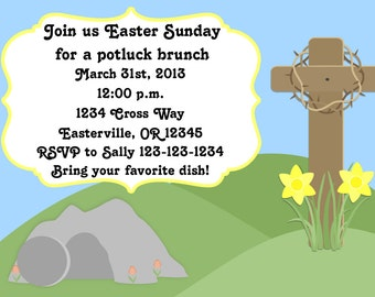 Easter Sunday Potluck Invitation Print Your Own 5x7 or 4x6