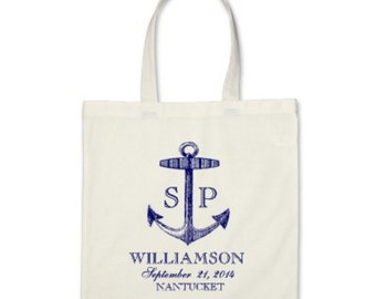 Wedding Welcome or Destination Wedding Tote Bag - Love Anchor Personalzed Tote Bag in Navy Blue