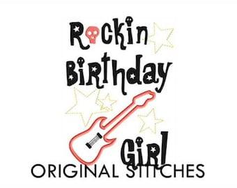 Rockin Birthday Girl Guitar Applique and Machine Embroidery Digital Design File 5x7 6x10 7x11