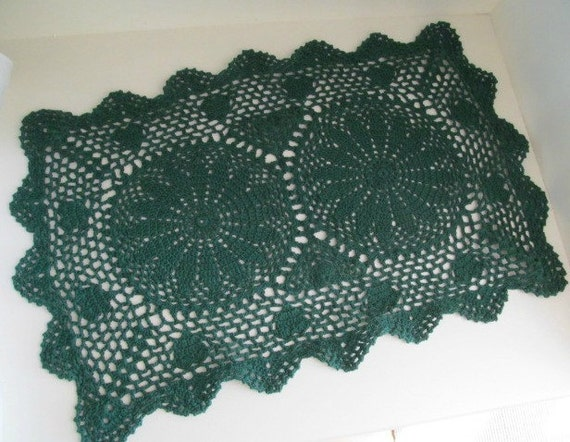 Items Similar To Vintage Green Crochet Doily Granny Chic