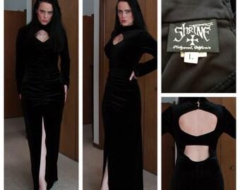 SALE - 40s Style Designer Goth Bad Girl Vixen Stretch Velveteen Dress L