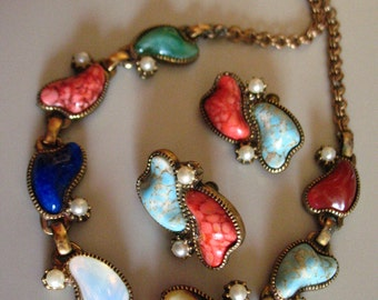 Vintage art glass necklace and earrings mid century choker multicolor