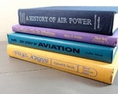 Vintage Multicolor Book Collection - Blue Purple Yellow Aviation Aircraft Books