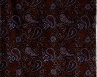 Two 26 x 26  Custom Designer Decorative Pillow Covers - Cotton Velvet Brown Paisley