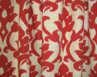 """Two 96"""" x 50""""  Custom Outdoor/Indoor Curtain Panels - Ikat - Red, Blue, Tangerine or Kiwi"""