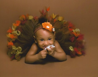 Petti Tied Harvest Colors Tutu Dress in Brown with pettitied red orange and gold full skirting Photo Prop